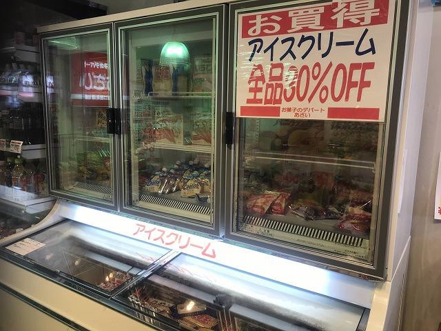 大きな冷蔵庫に入ったアイスクリーム