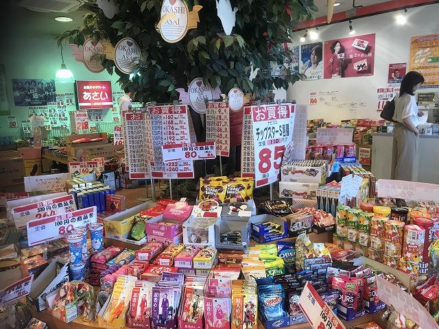 低価格が記載された大きな紙とお菓子