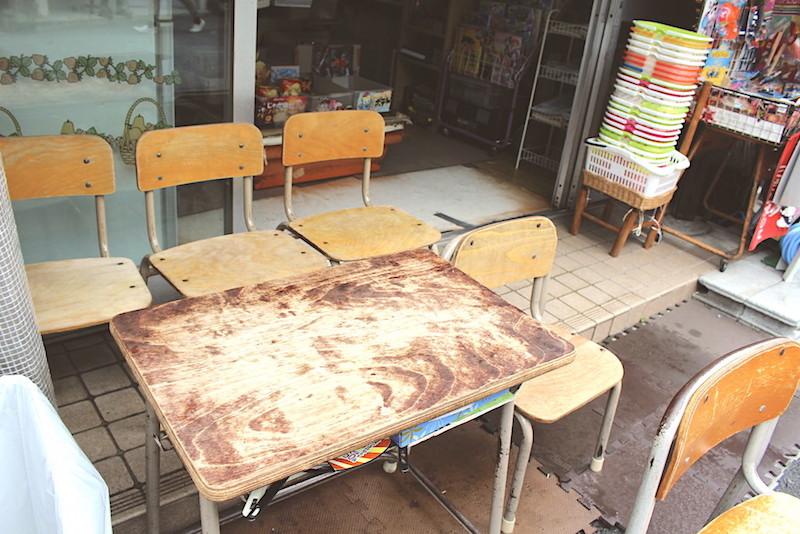 古びたテーブルと机