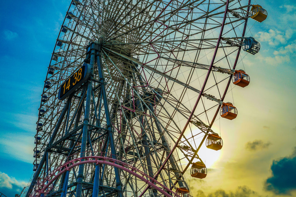 Minato Mirai of the Ferris wheel and (Cosmo clock) sunset. Shooting Location: Yokohama-city kanagawa prefecture