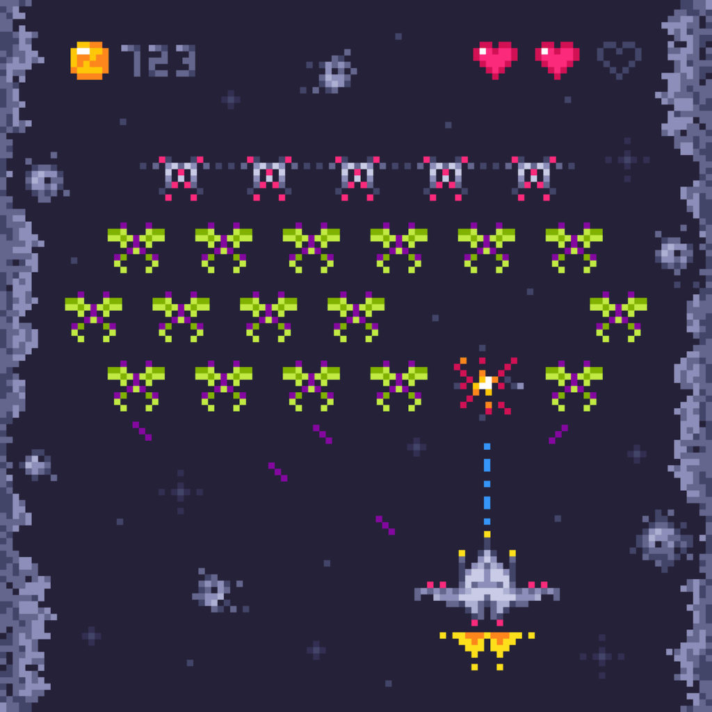 Space arcade game level. Retro invaders, pixel art video games and monster invader spaceship gaming. Pixels 8bit alien platformer kids play game retro vector illustration (Space arcade game level. Retro invaders, pixel art video games and monster inva